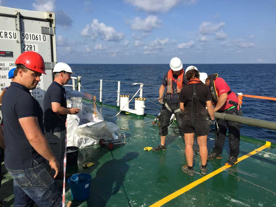 Coring sampling on deck of Stril explorer